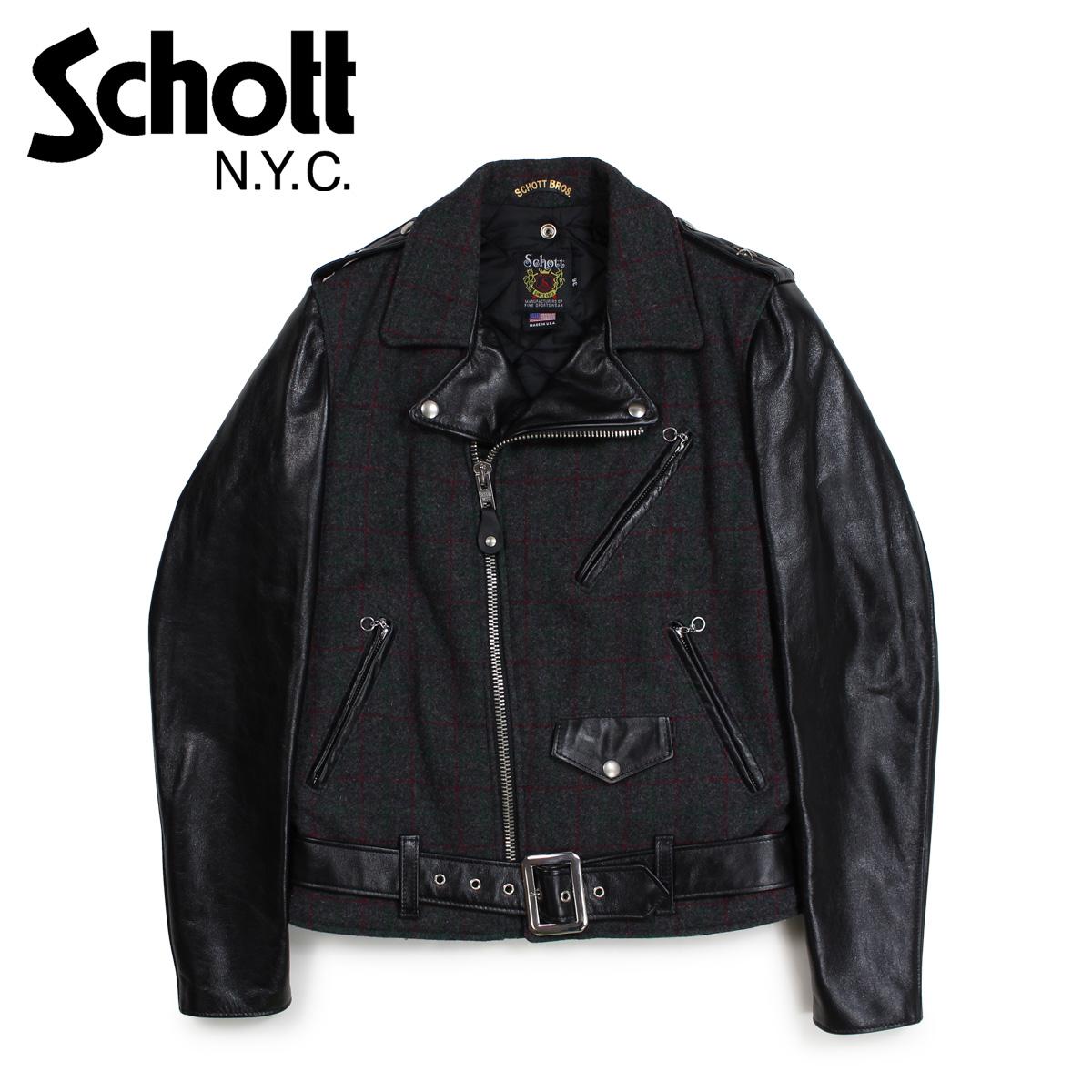 Schott ショット ジャケット ライダースジャケット メンズ MEN WOOL LEATHER RIDERS JACKET ブラック 黒