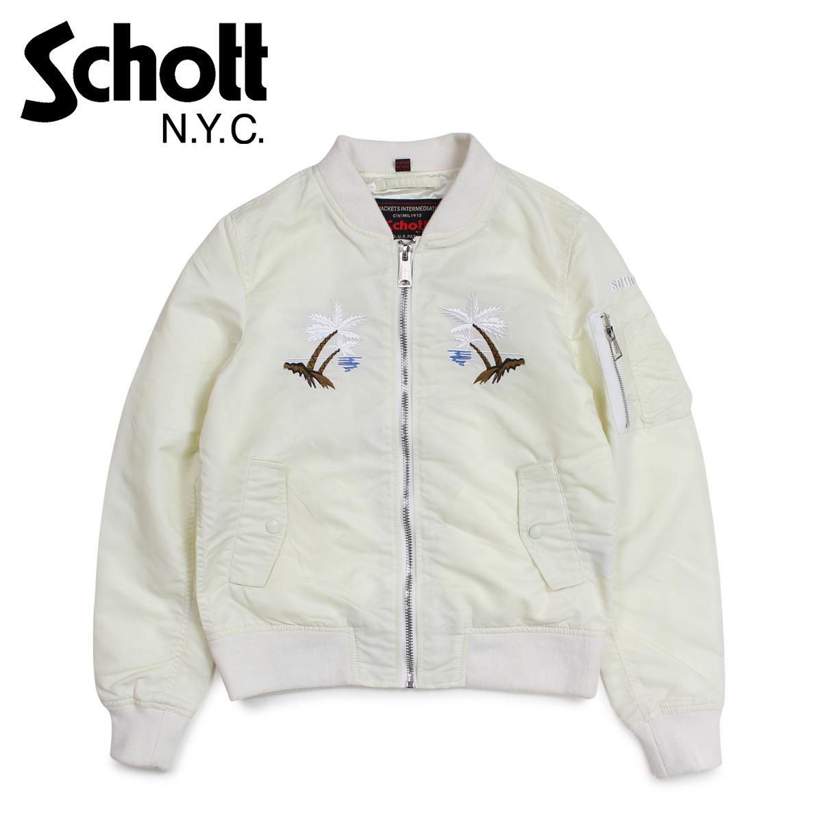 Schott ショット ジャケット フライトジャケット レディース WOMEN WAIKIKI COMMEMORATIVE FLIGHT JACKET ホワイト 9721W