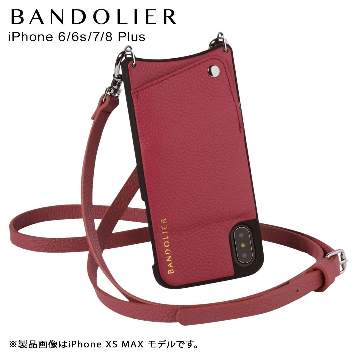 バンドリヤー BANDOLIER iPhone 6 6s 7 8 Plus ケース ショルダー スマホ アイフォン レザー EMMA MAGENTA RED メンズ レディース マゼンタ レッド 赤 10EMM1001