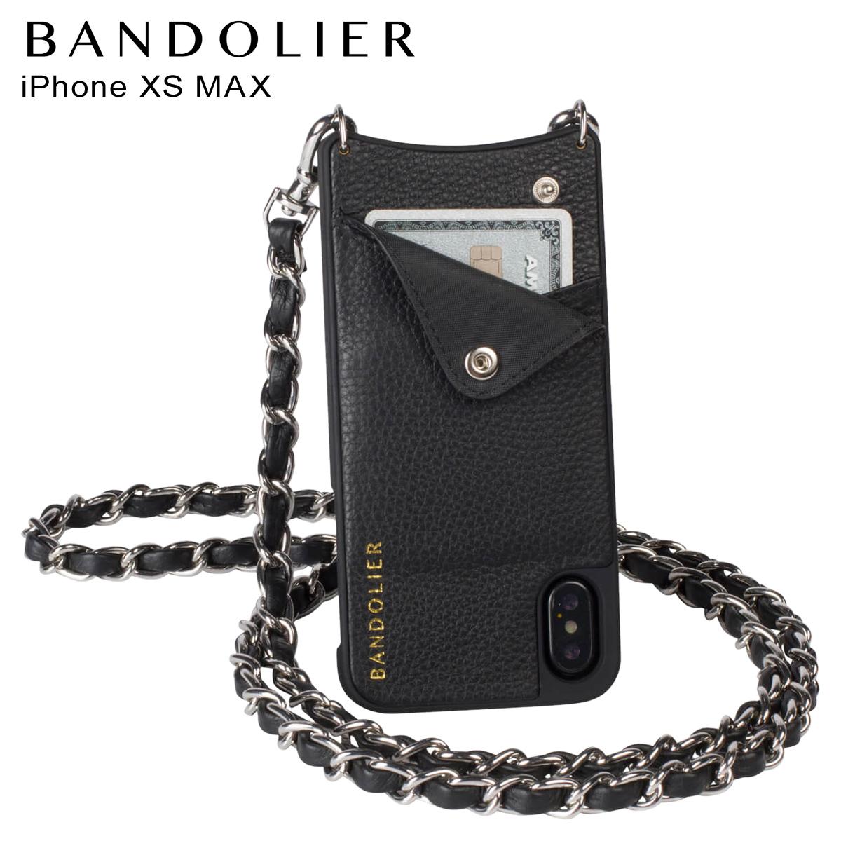 バンドリヤー BANDOLIER iPhone XS MAX ケース スマホ 携帯 ショルダー アイフォン レザー LUCY PEWTER メンズ レディース ブラック 10LCY1001