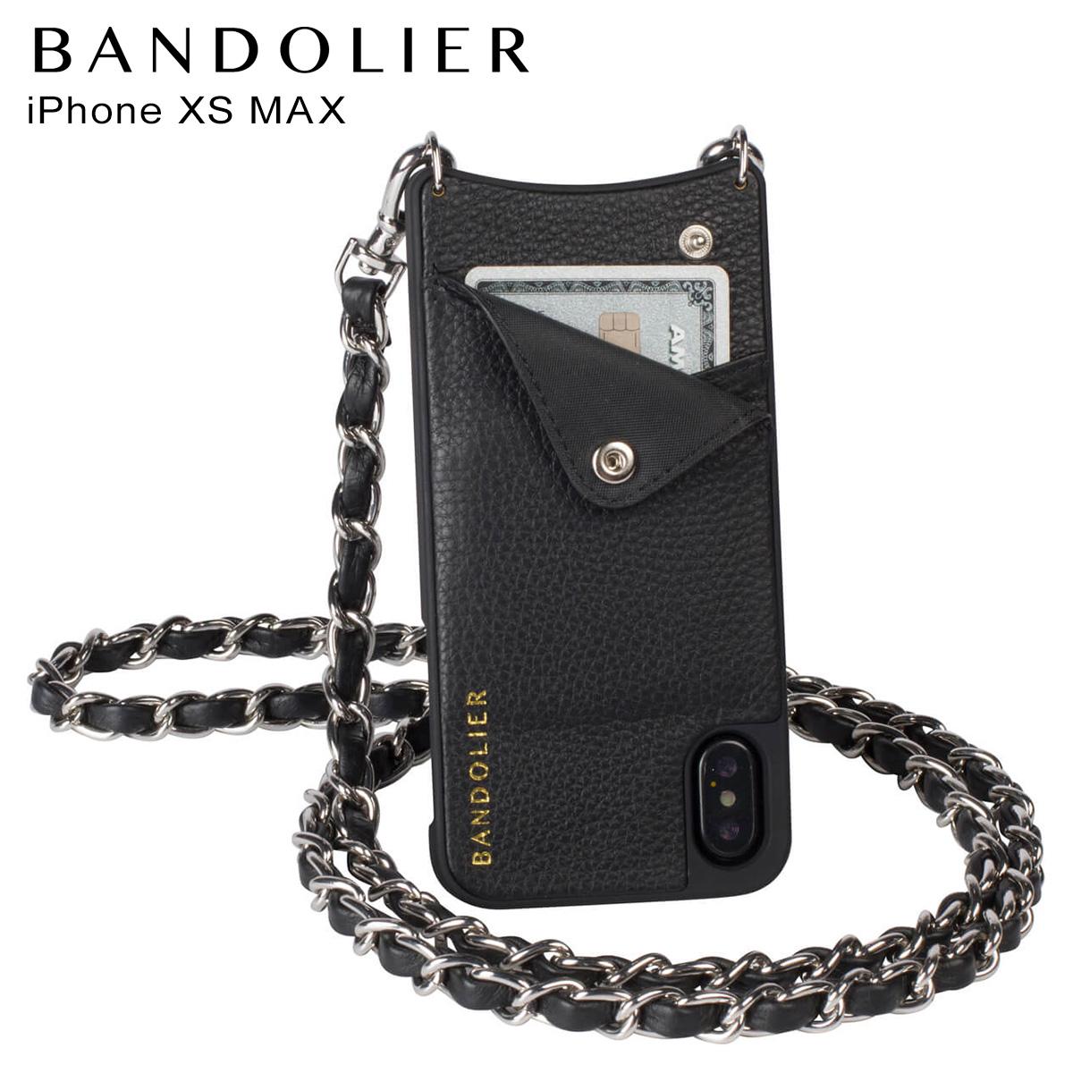 バンドリヤー BANDOLIER iPhone XS MAX ケース ショルダー スマホ アイフォン レザー LUCY SILVER メンズ レディース ブラック 黒 10LCY1001 [3/18 再入荷]