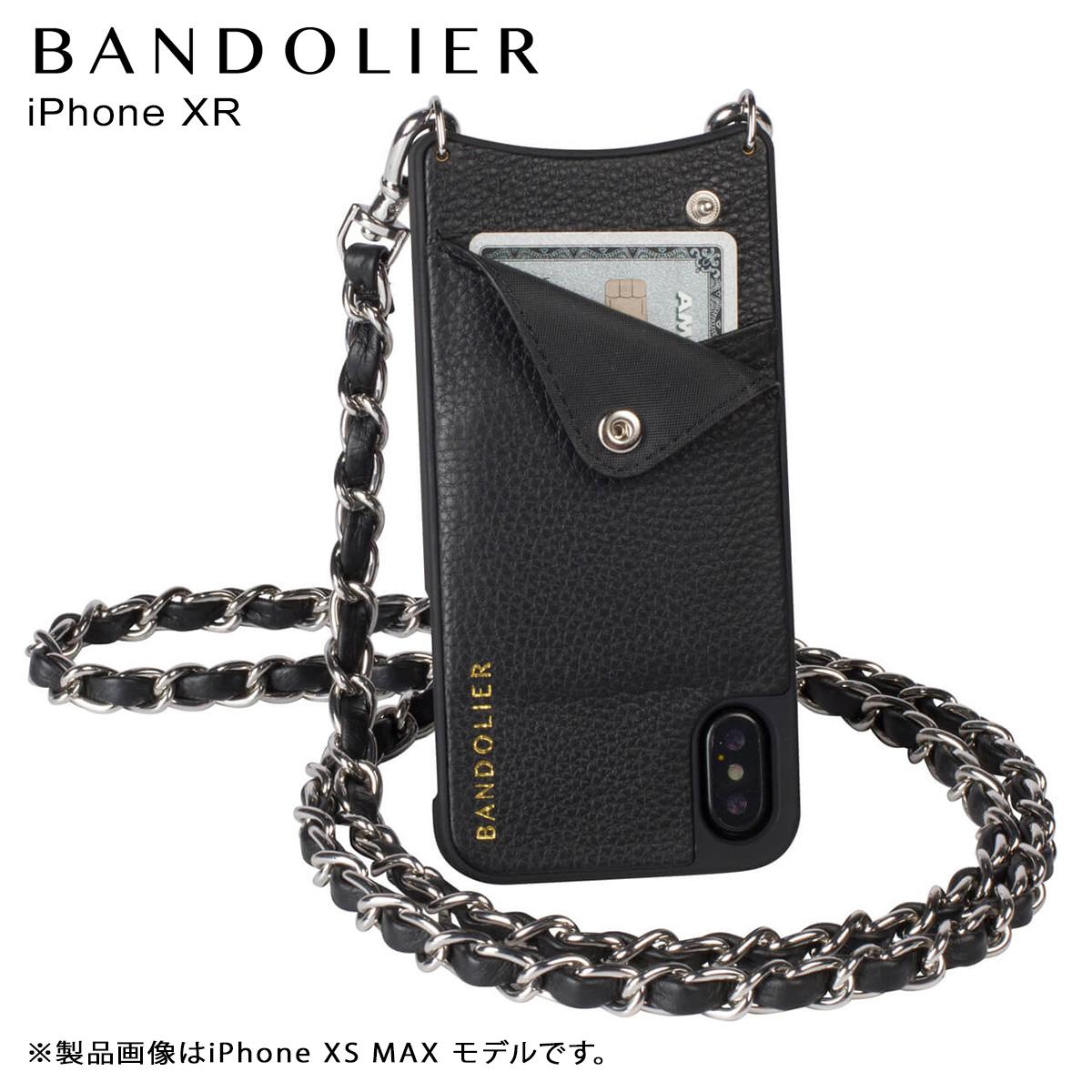 バンドリヤー BANDOLIER iPhone XR ケース スマホ 携帯 ショルダー アイフォン レザー LUCY SILVER メンズ レディース ブラック 10LCY1001