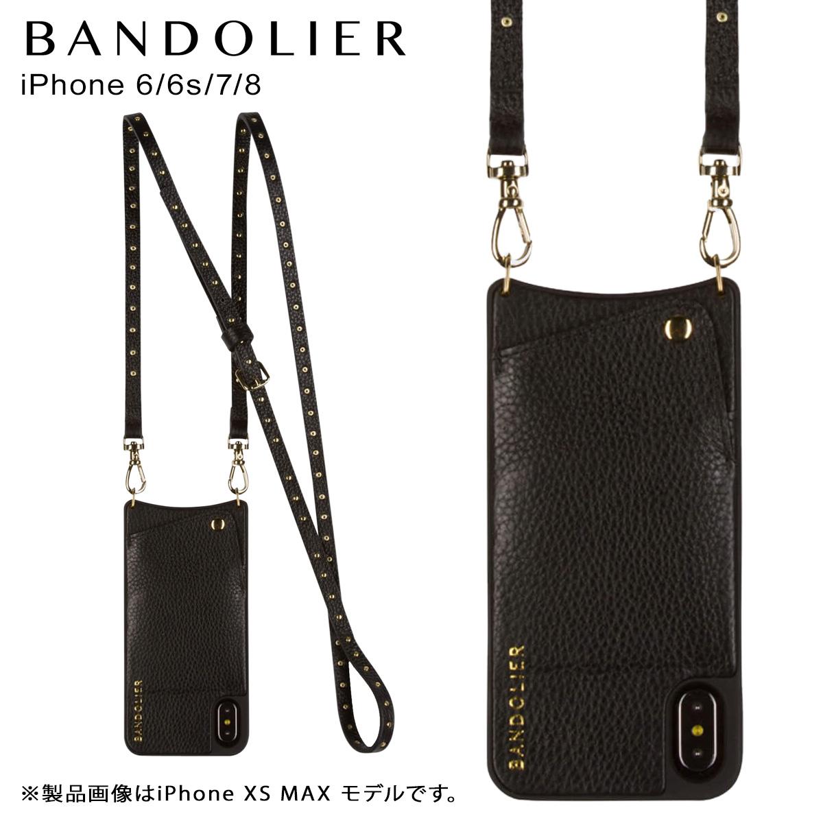 バンドリヤー BANDOLIER iPhone 8 7 6s 6 ケース ショルダー スマホ 携帯 アイフォン レザー NICOLE GOLD メンズ レディース ブラック 10NIC1001 [10/31 再入荷]