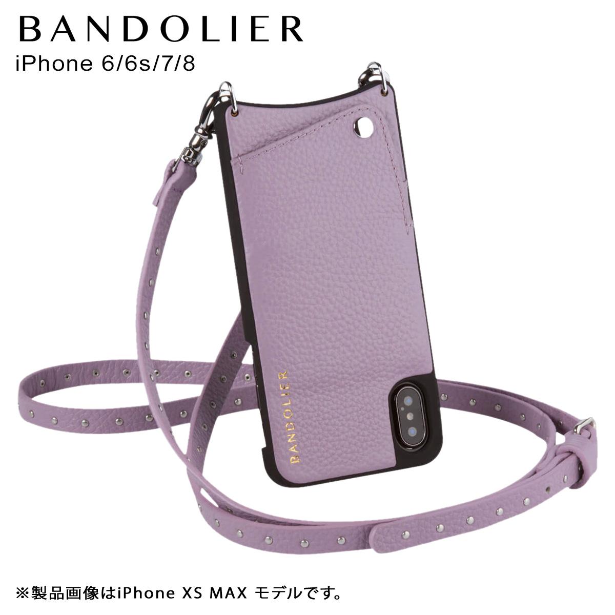バンドリヤー BANDOLIER iPhone 8 7 6s 6 ケース ショルダー スマホ アイフォン レザー NICOLE LILAC メンズ レディース ライラック 10NIC1001