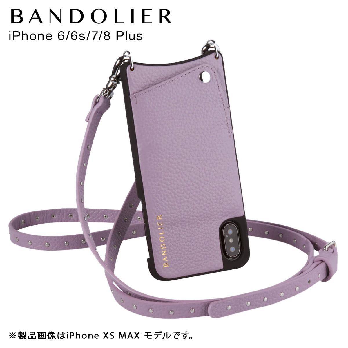 バンドリヤー BANDOLIER iPhone8Plus iPhone7Plus 6sPlus ケース ショルダー スマホ アイフォン レザー NICOLE LILAC メンズ レディース ライラック 10NIC1001