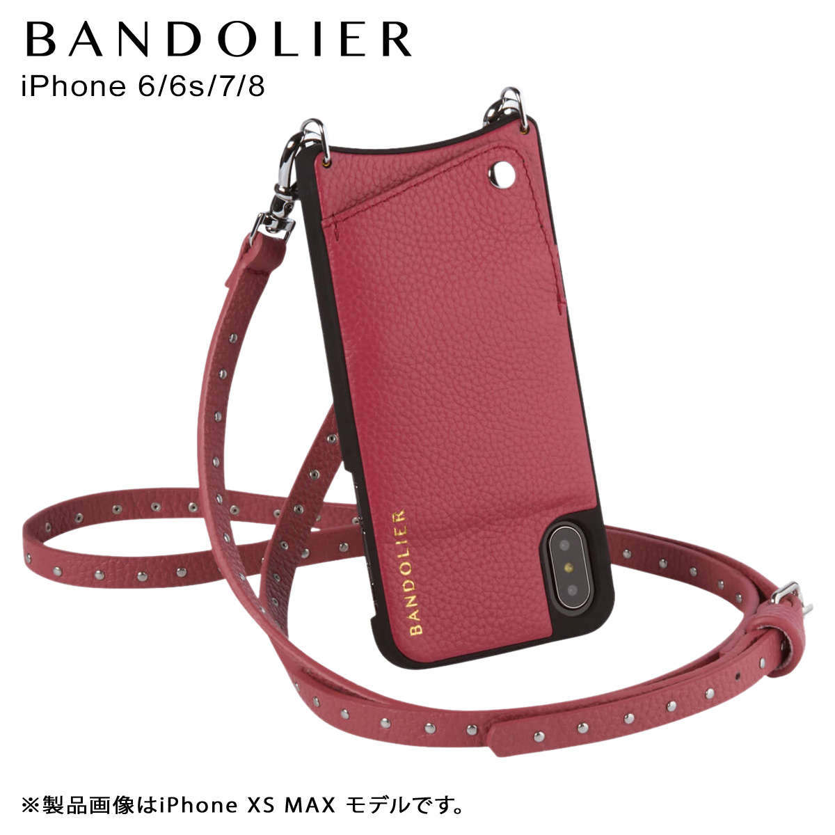 バンドリヤー BANDOLIER iPhone 8 7 6s 6 ケース ショルダー スマホ アイフォン レザー NICOLE MAGENTA RED メンズ レディース マゼンタ レッド 10NIC1001