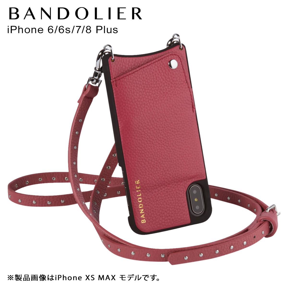バンドリヤー BANDOLIER iPhone8Plus iPhone7Plus 6sPlus ケース ショルダー スマホ アイフォン レザー NICOLE MAGENTA RED メンズ レディース マゼンタ レッド 赤 10NIC1001