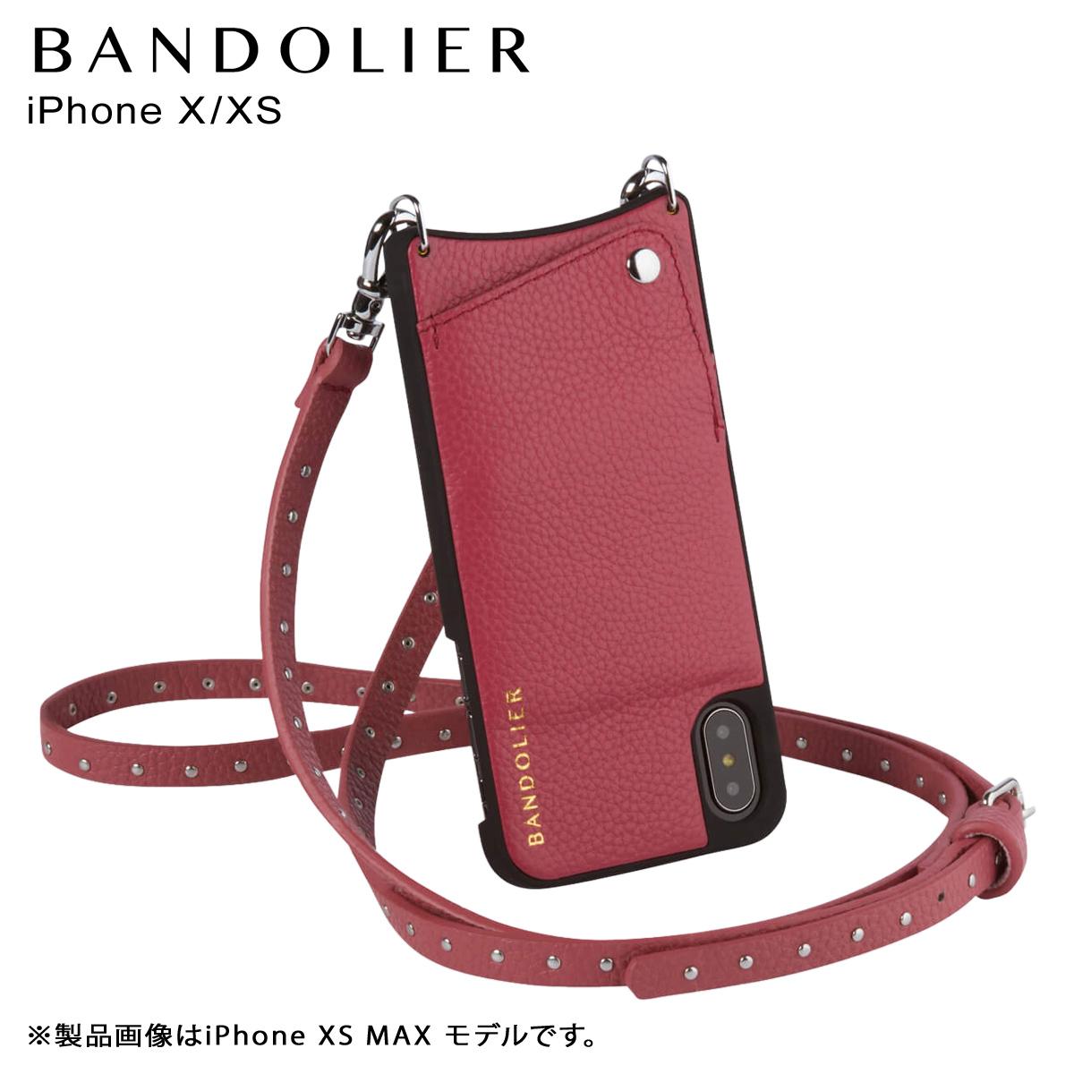 バンドリヤー BANDOLIER iPhone XS X ケース ショルダー スマホ アイフォン レザー NICOLE MAGENTA RED メンズ レディース マゼンタレッド 赤 10NIC1001