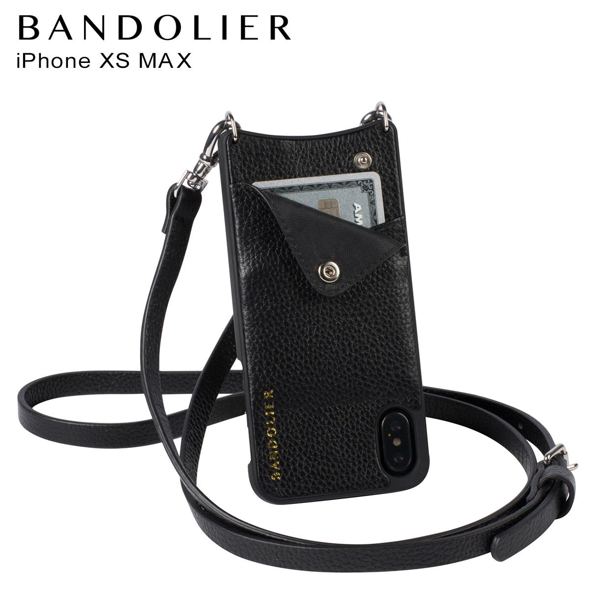 バンドリヤー BANDOLIER iPhone XS MAX ケース ショルダー スマホ アイフォン レザー EMMA SILVER メンズ レディース ブラック 黒 10EMM1001 [予約商品 4月下旬頃入荷予定 再入荷]