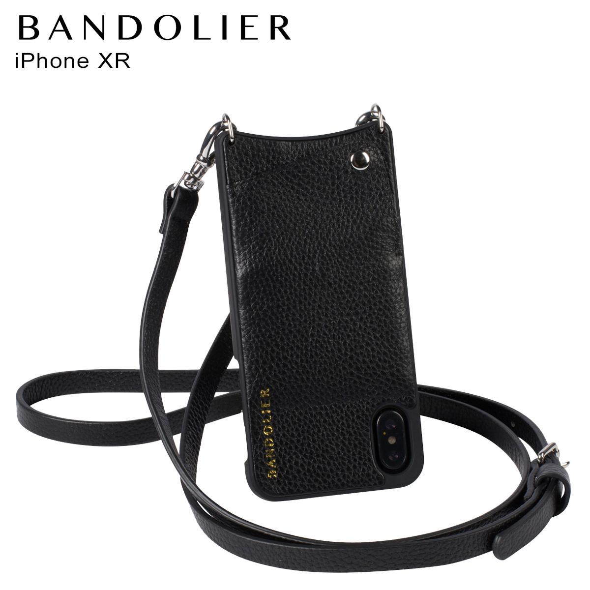バンドリヤー BANDOLIER iPhone XR ケース スマホ 携帯 ショルダー アイフォン レザー EMMA SILVER メンズ レディース ブラック 10EMM1001