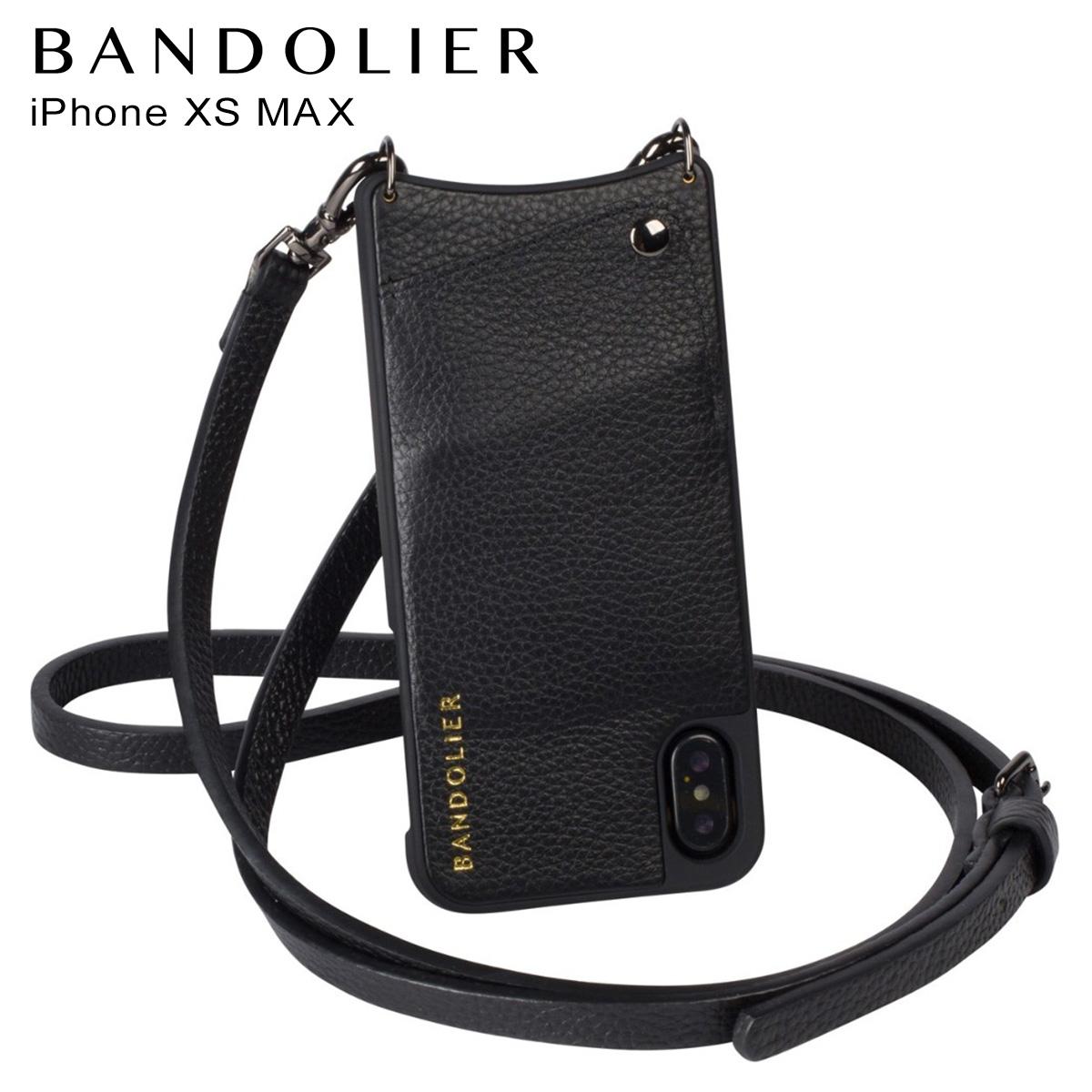 バンドリヤー BANDOLIER iPhone XS MAX ケース スマホ 携帯 ショルダー アイフォン レザー EMMA PEWTER メンズ レディース ブラック 10EMM1001