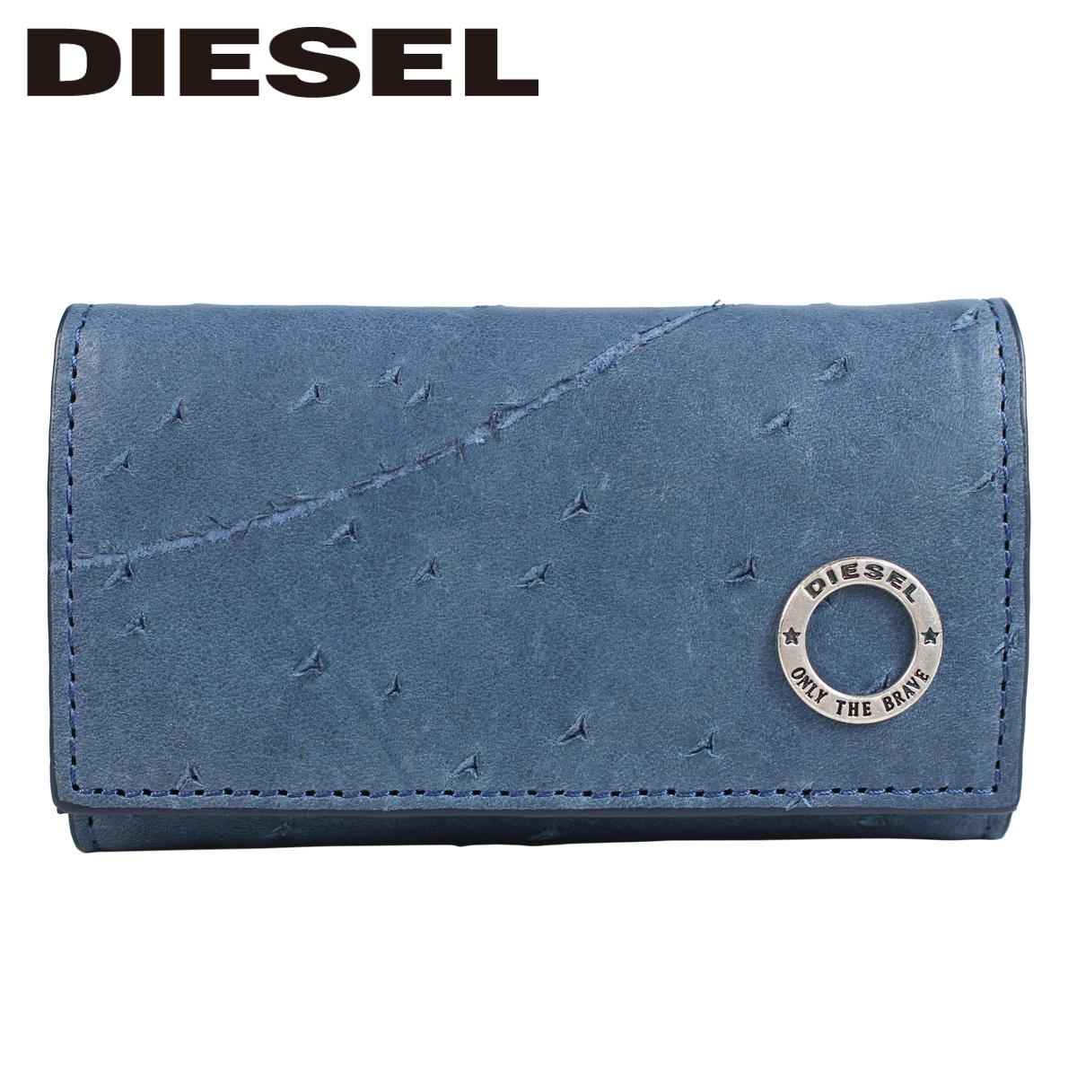 DIESEL ディーゼル キーケース メンズ 本革 6連 KURACAO 24 ZIP ブルー X05825 PR080