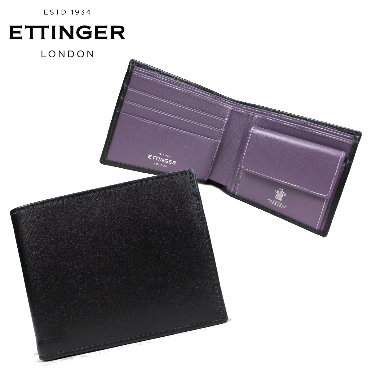 ETTINGER エッティンガー 財布 二つ折り メンズ レザー STERLING BILLFOLD WITH 3 C/C & PURSE ブラック 黒 ST141JR [3/12 再入荷]