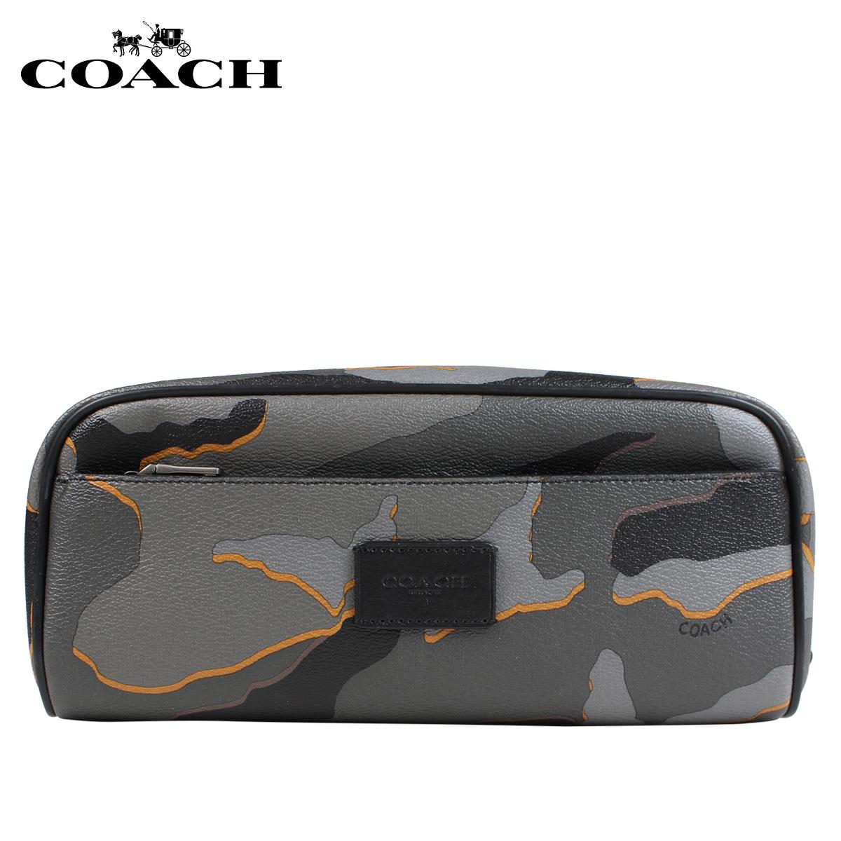 COACH コーチ ポーチ 小物入れ メンズ 本革 グレーカモ F31518