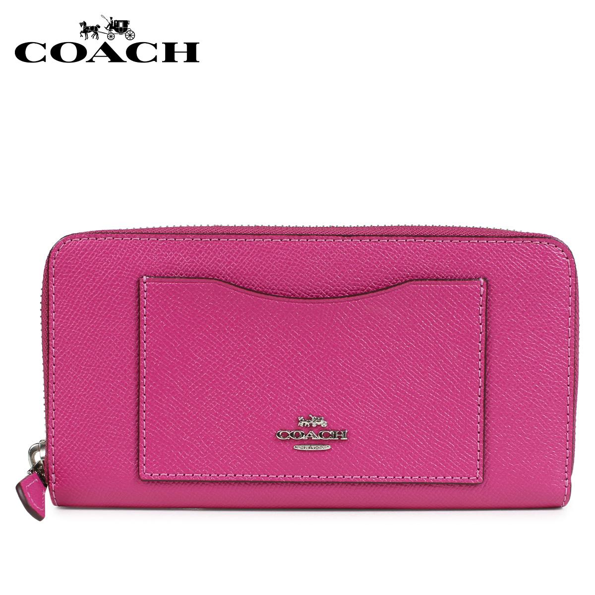 COACH コーチ 財布 長財布 レディース ラウンドファスナー レザー ピンク F54007