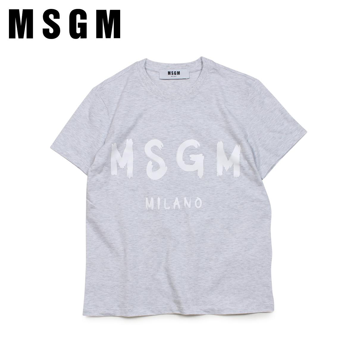 エムエスジーエム MSGM Tシャツ 半袖 レディース NEW RUBBED LOGO T-SHIRTS グレー MDM60 94