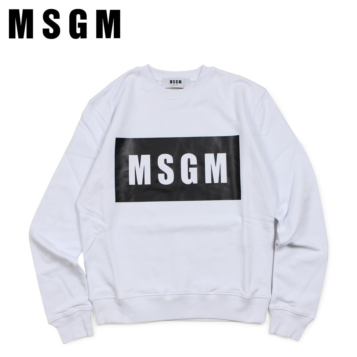 エムエスジーエム MSGM トレーナー スウェット レディース BOX LOGO LONG SLEEVED SHIRTS ホワイト 白 2441MDM96 184298