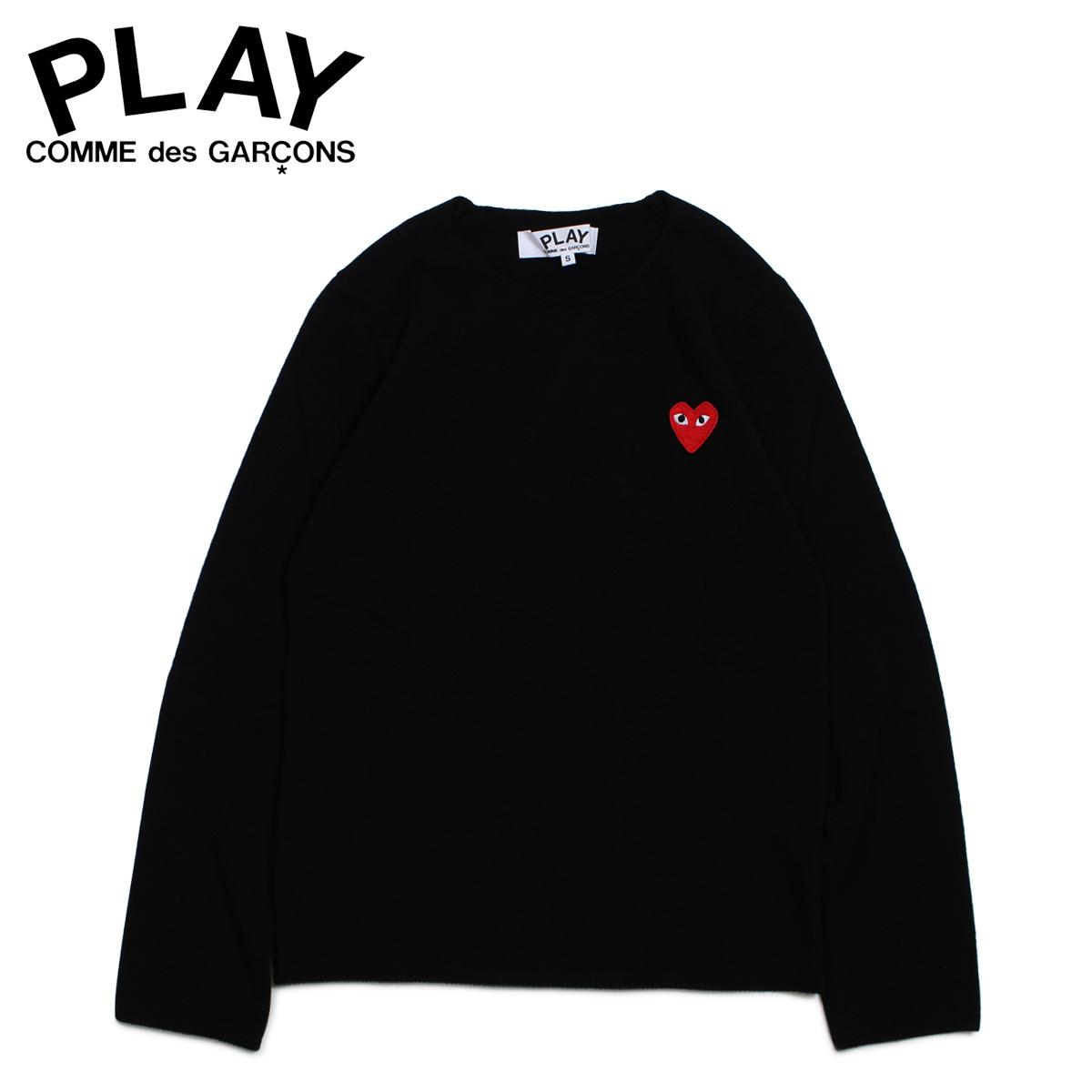 PLAY COMME des GARCONS コムデギャルソン ニット セーター レディース RED HEART CREW NECK SWEATER ブラック 黒 AZ-N067 [4/1 新入荷]