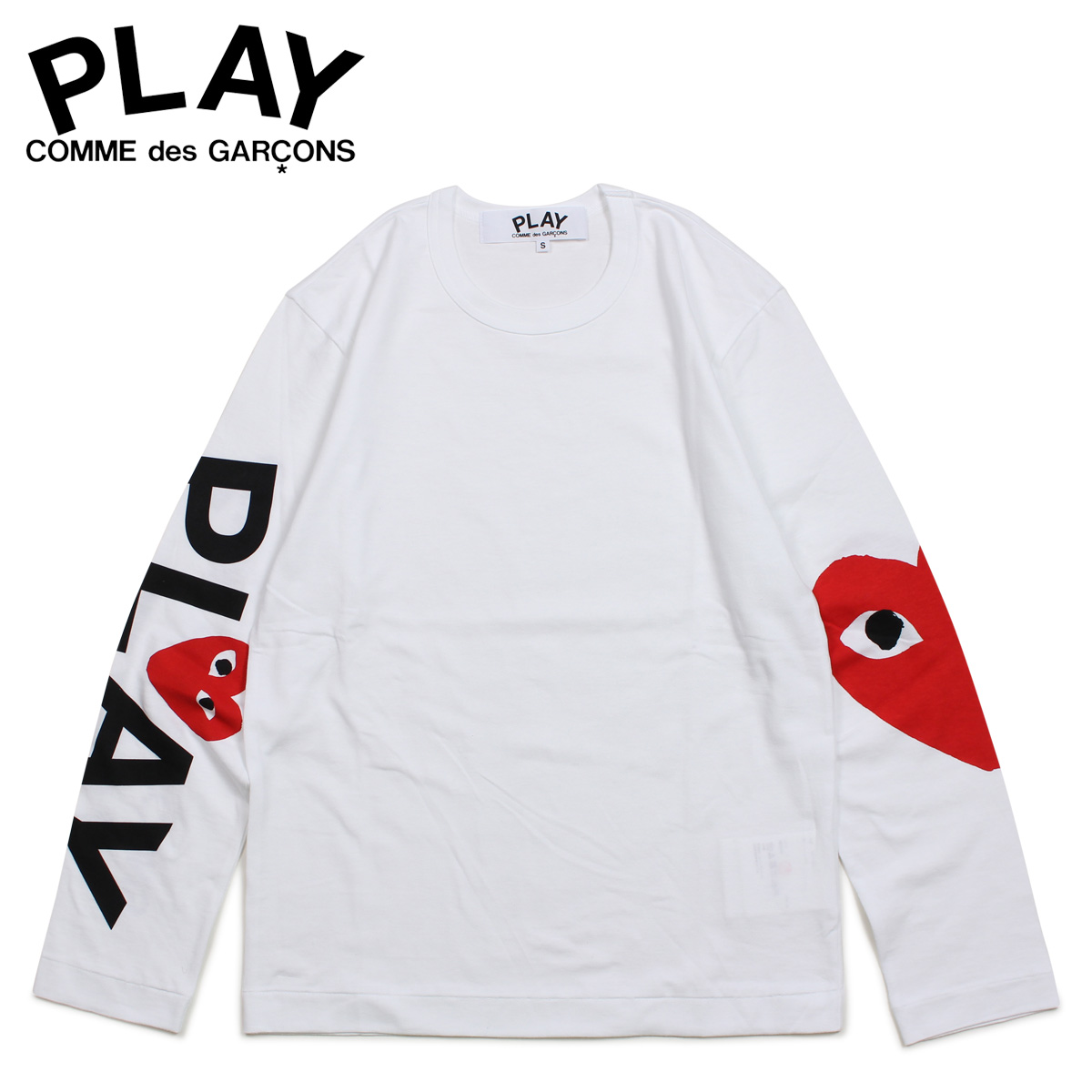 PLAY COMME des GARCONS コムデギャルソン Tシャツ メンズ 長袖 ロンT RED HEART LONG SLEEVE ホワイト 白 AZ-T258 [4/1 新入荷]