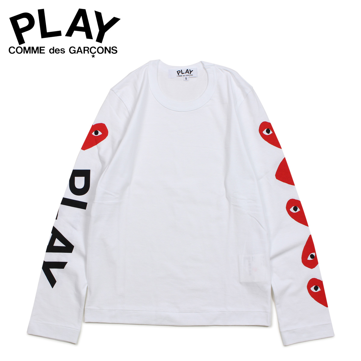 PLAY COMME des GARCONS コムデギャルソン Tシャツ レディース 長袖 ロンT RED HEART LONG SLEEVE ホワイト 白 AZ-T261 [3/29 新入荷]