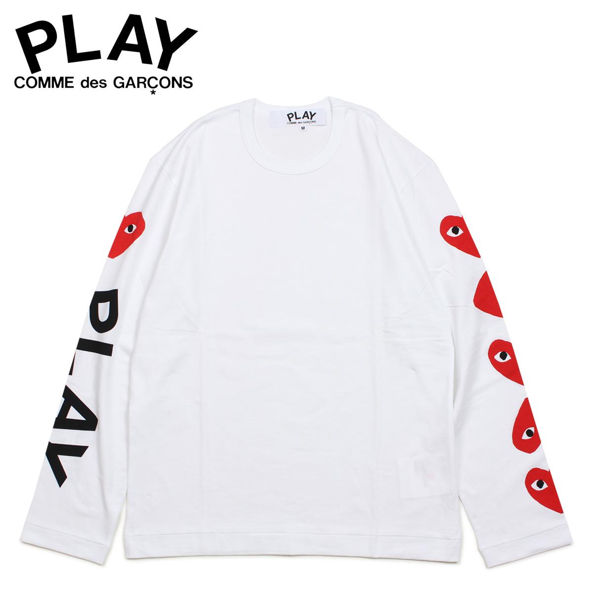 PLAY COMME des GARCONS コムデギャルソン Tシャツ メンズ 長袖 ロンT RED HEART LONG SLEEVE ホワイト 白 AZ-T262 [4/1 新入荷]