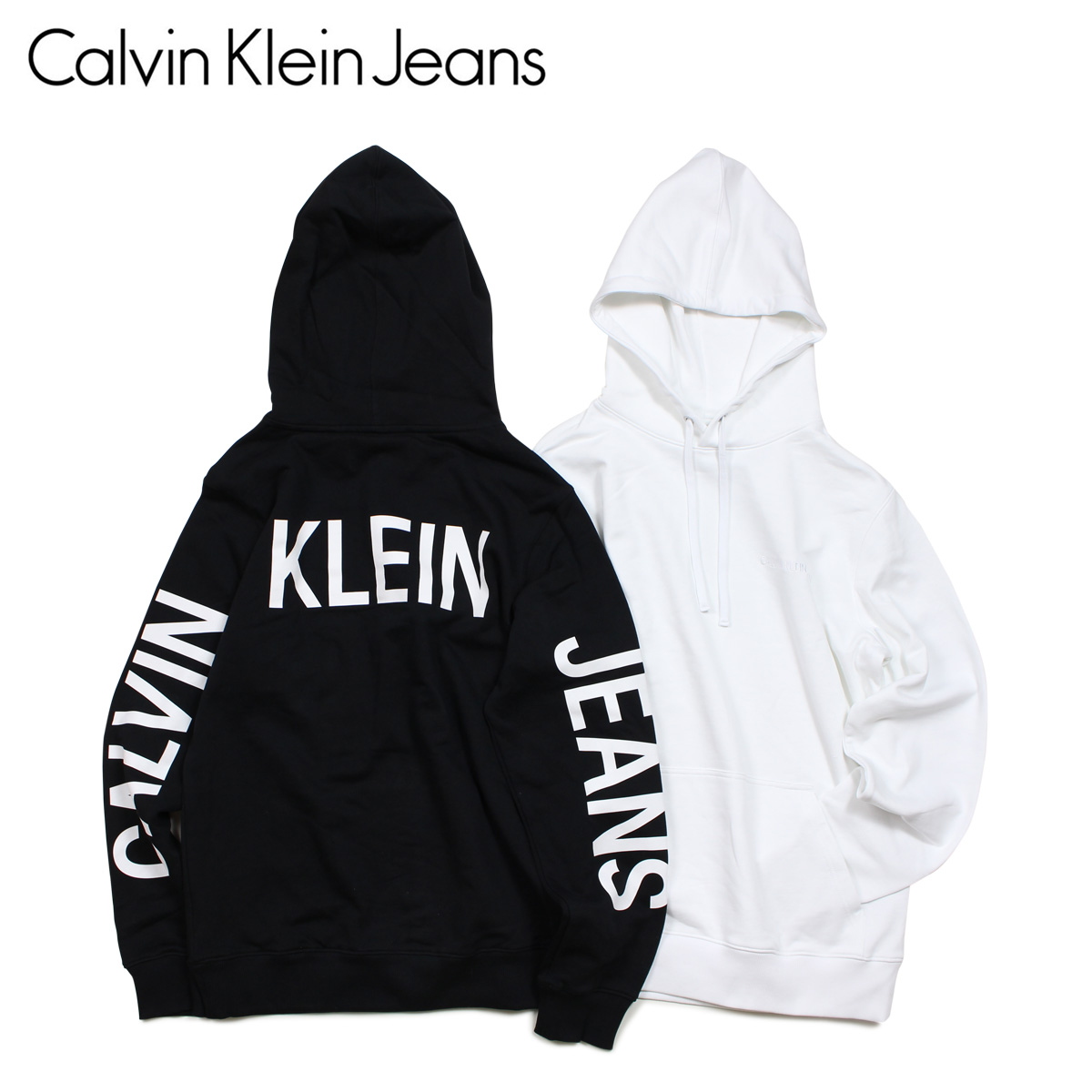 separation shoes 2cfa9 74c2e Calvin Klein Jeans Calvin Klein jeans parka pullover men INSTITUTIONAL BACK  LOGO HOODIE black white black and white J30J311569