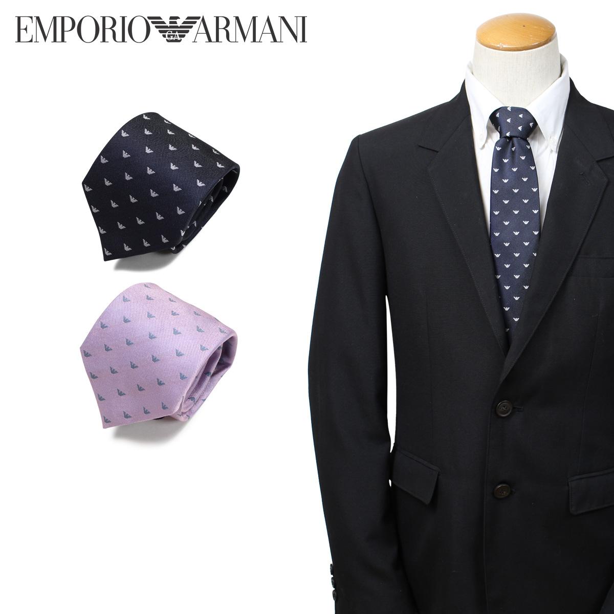 EMPORIO ARMANI エンポリオ アルマーニ ネクタイ メンズ イタリア製 シルク ビジネス 結婚式 ネイビー ピンク [3/25 新入荷]