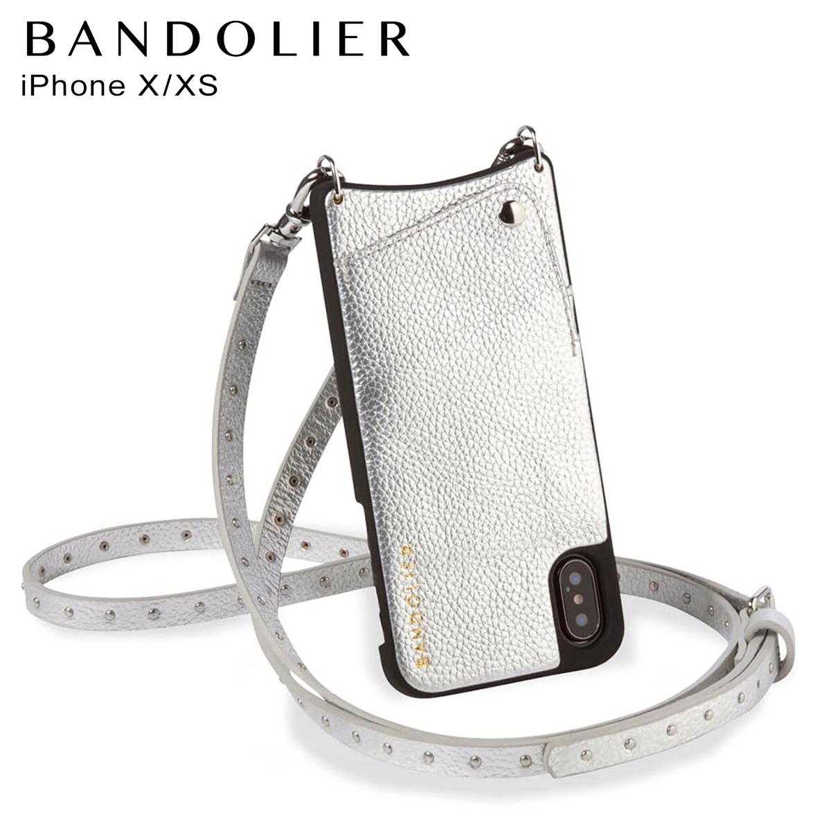 バンドリヤー BANDOLIER iPhone XS X ケース スマホ 携帯 アイフォン レザー NICOLE RICH SILVER メンズ レディース シルバー 10NIC
