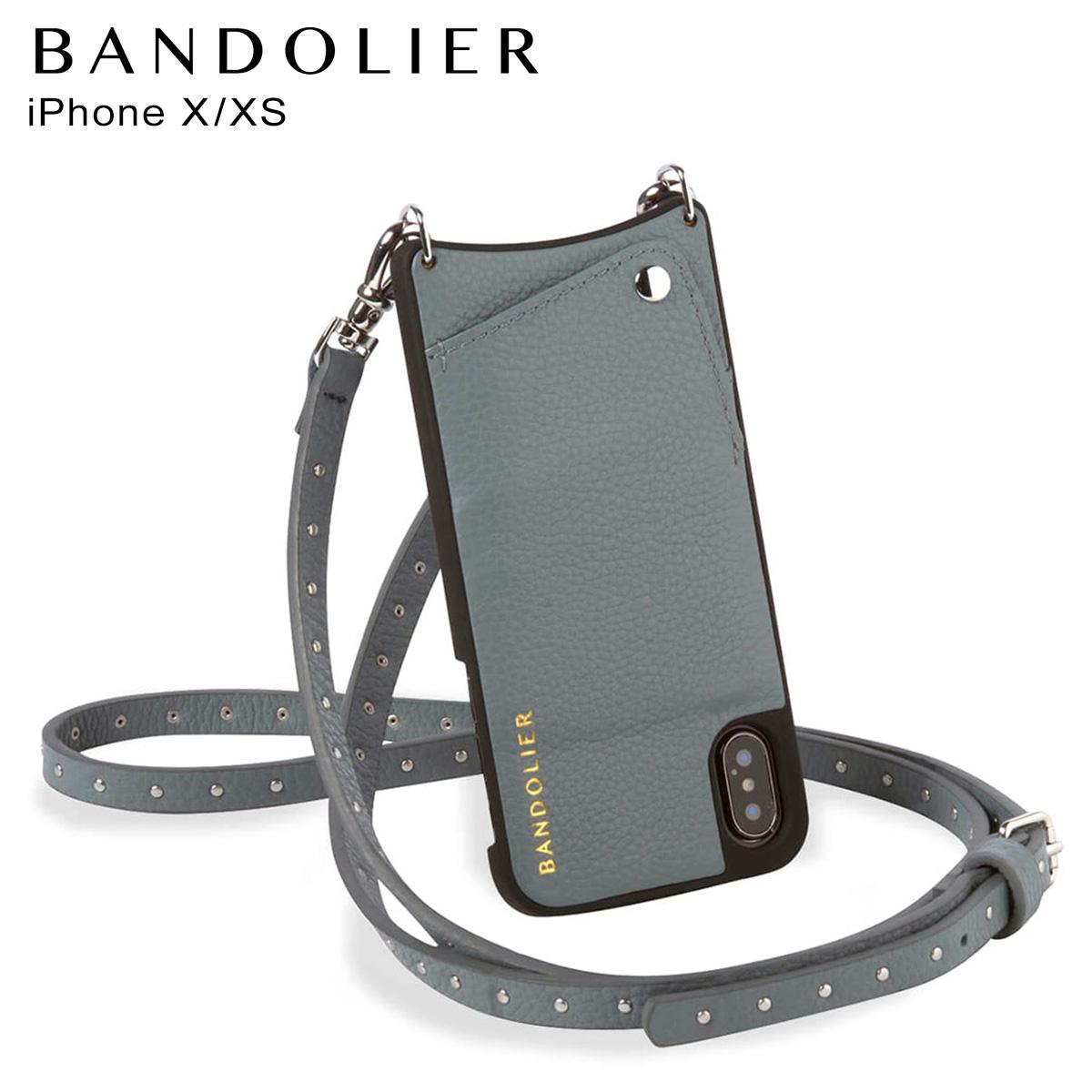 バンドリヤー BANDOLIER iPhone XS X ケース スマホ アイフォン レザー NICOLE STORM メンズ レディース ブルーグレー 10NIC