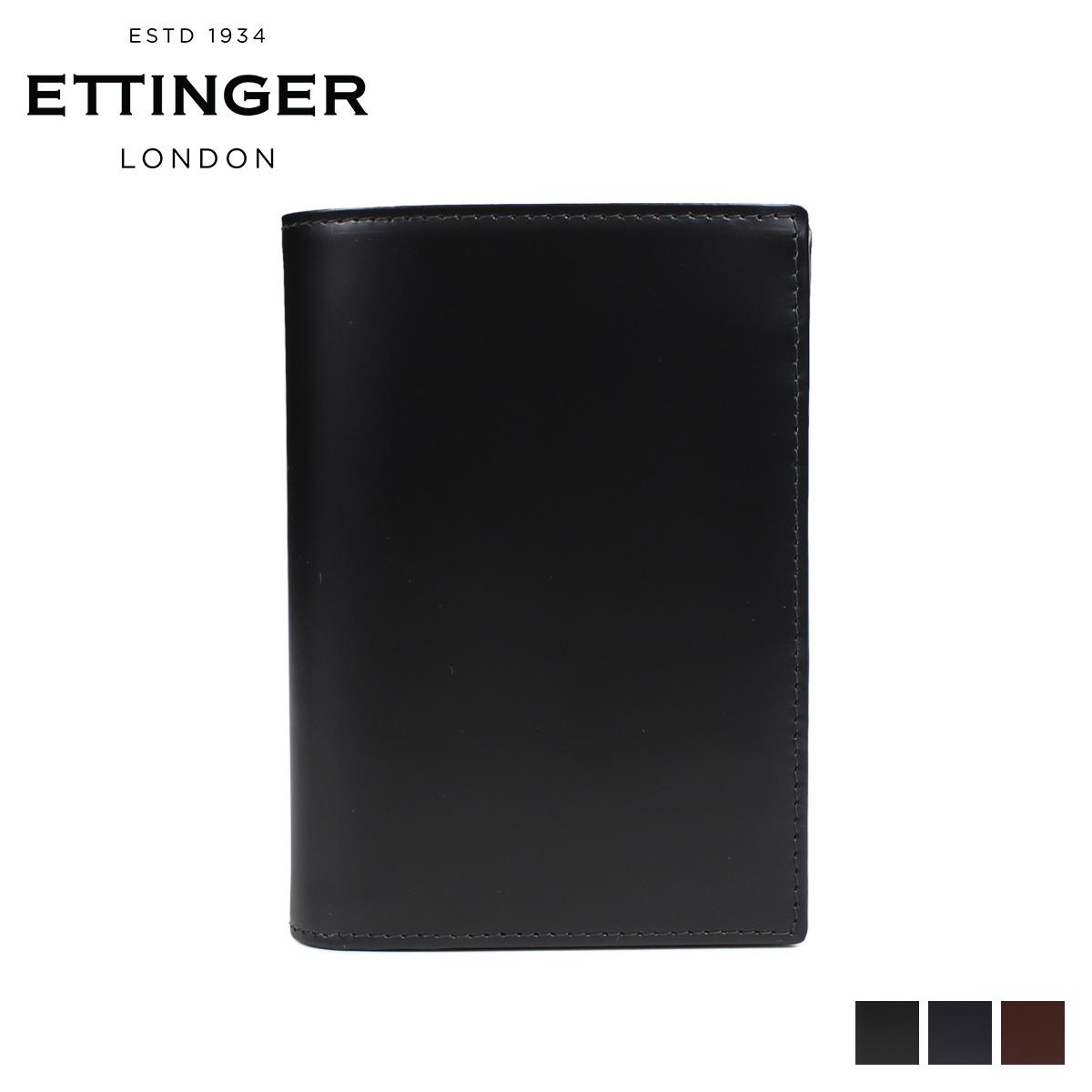 ETTINGER エッティンガー 財布 二つ折り メンズ レザー PURSE NOTECASE WITH 4 CC SLOTS ブラック ネイビー ブラウン 黒 BH179JR