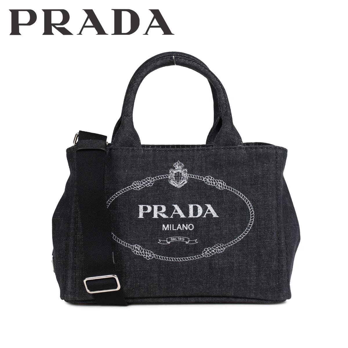PRADA プラダ バッグ トートバッグ ショルダー カナパ レディース 2WAY CANAPA デニム ブラック 黒 1BG439V 0Y0AJ6 F0002