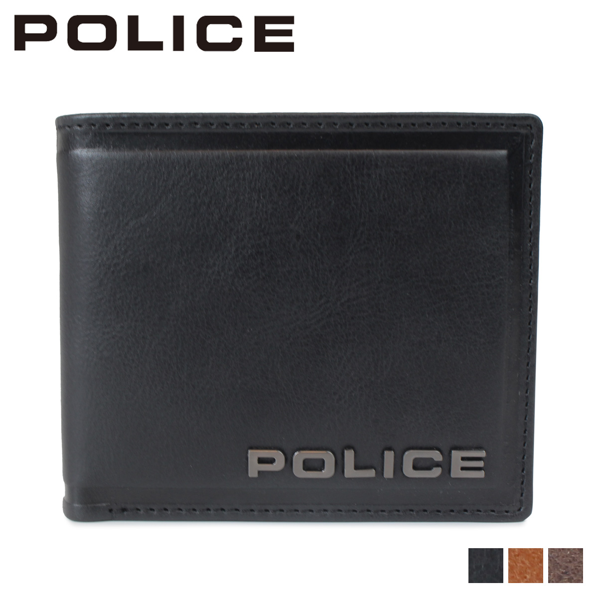 POLICE ポリス 財布 二つ折り メンズ レザー EDGE SHORT WALLET ブラック キャメル ダーク ブラウン 黒 PA-58000