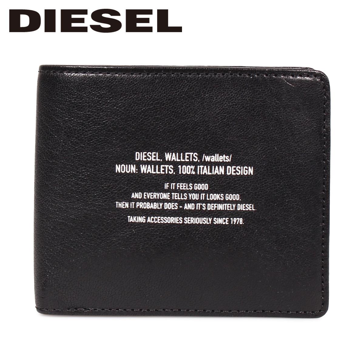 DIESEL ディーゼル 財布 二つ折り メンズ 本革 BANDER HIRESH S ブラック 黒 X06295 PS142