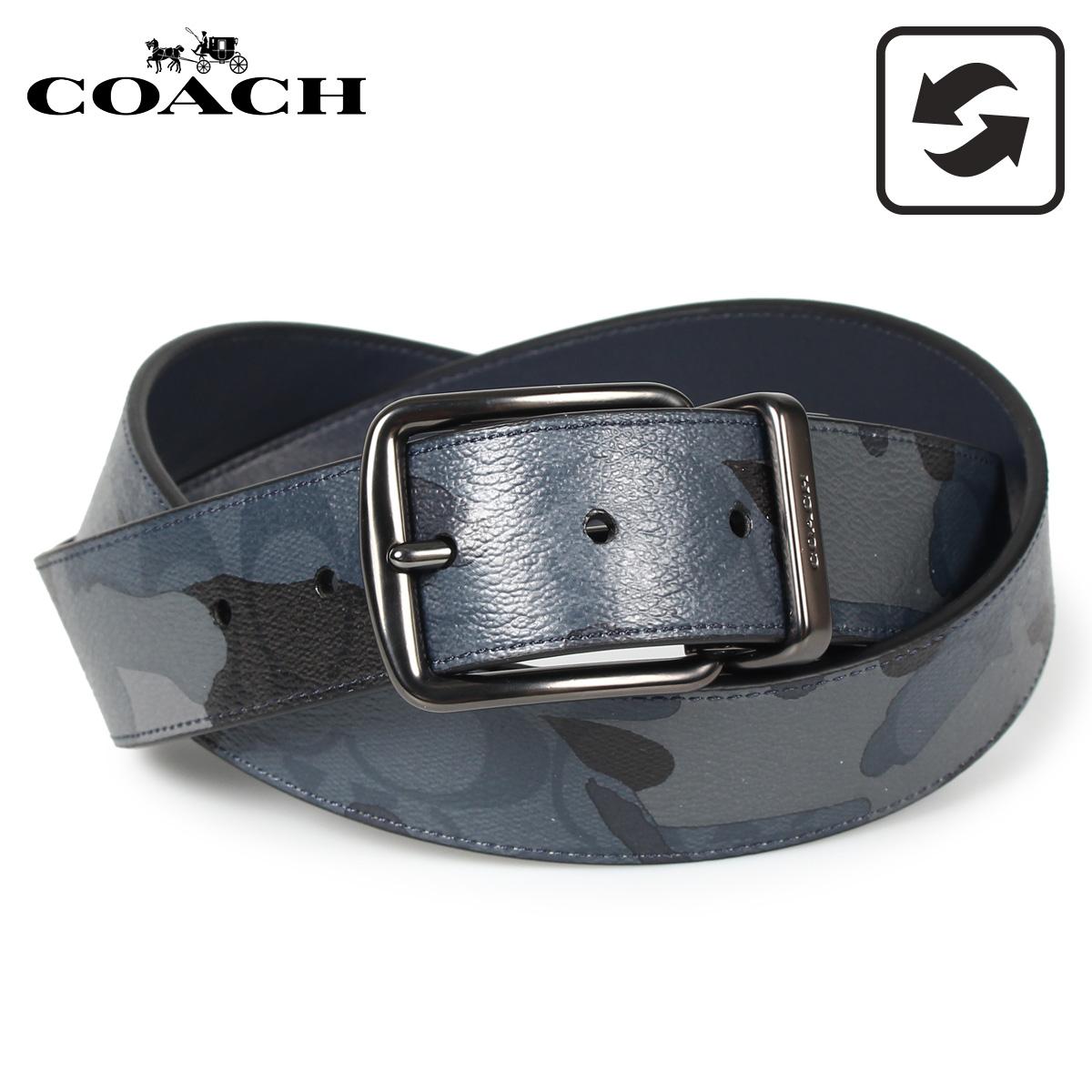 COACH コーチ ベルト レザーベルト メンズ リバーシブル カモ 迷彩 ブルー マルチ F76949-QBBLM