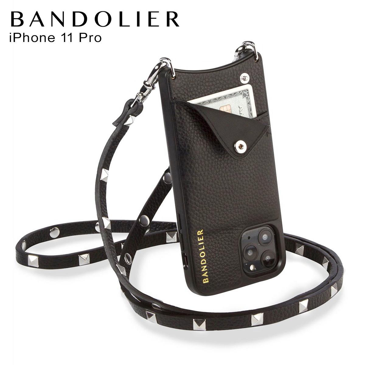 バンドリヤー BANDOLIER サラ シルバー iPhone11 Pro ケース スマホ 携帯 ショルダー アイフォン メンズ レディース SARAH SILVER ブラック 黒 2013