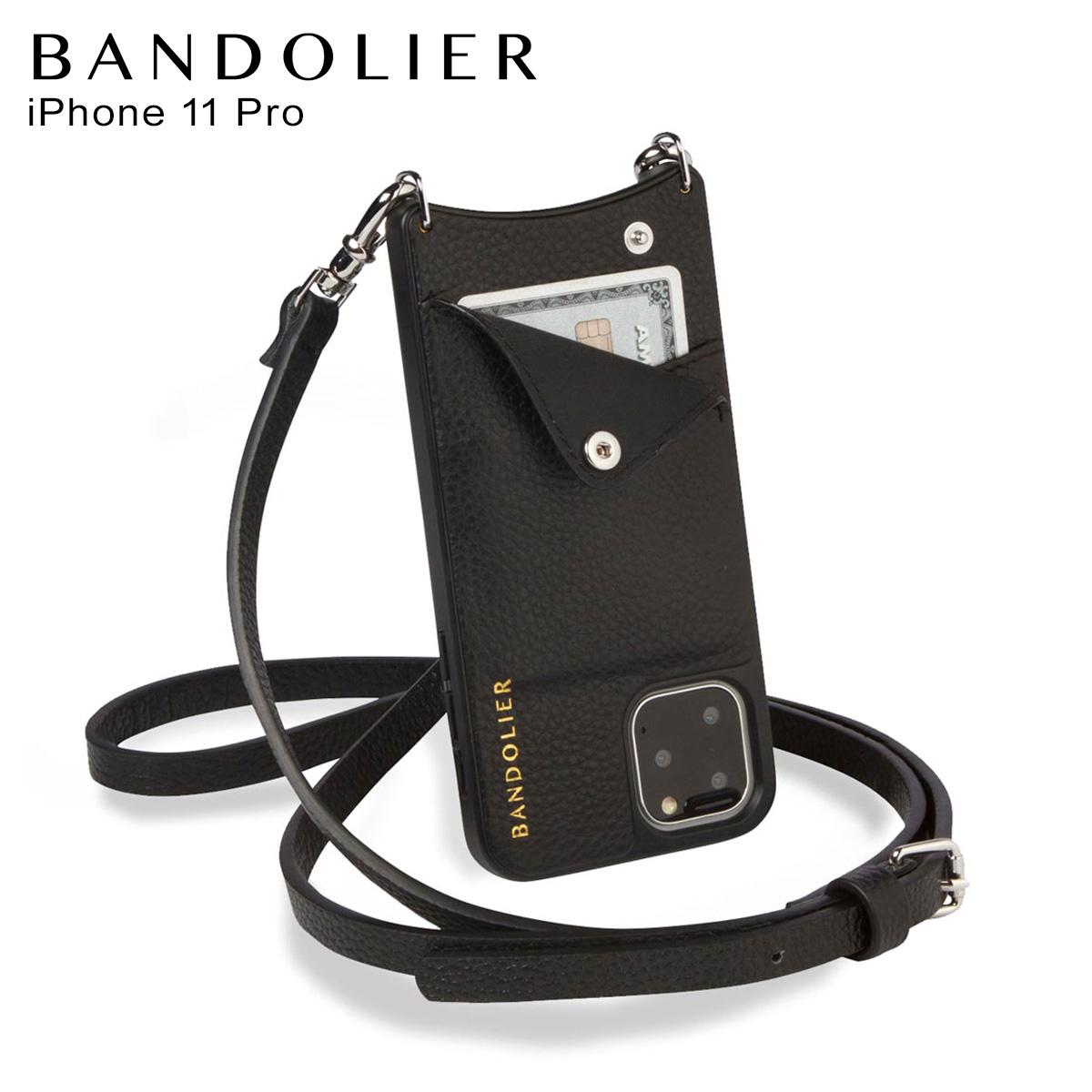 バンドリヤー BANDOLIER エマ シルバー iPhone11 Pro ケース スマホ 携帯 ショルダー アイフォン メンズ レディース EMMA SILVER ブラック 黒 2910