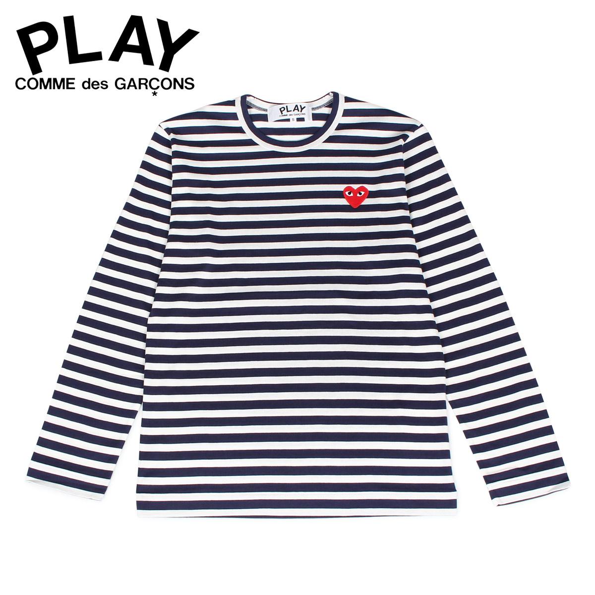 PLAY COMME des GARCONS プレイ コムデギャルソン Tシャツ 長袖 カットソー メンズ ボーダー STRIPE TEE ネイビー T0100511