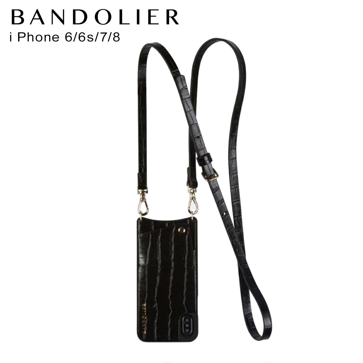 バンドリヤー BANDOLIER iPhone SE 8 7 6s 6 ケース スマホ 携帯 アイフォン レディース EMMA CROC BLACK ブラック 黒 10emm