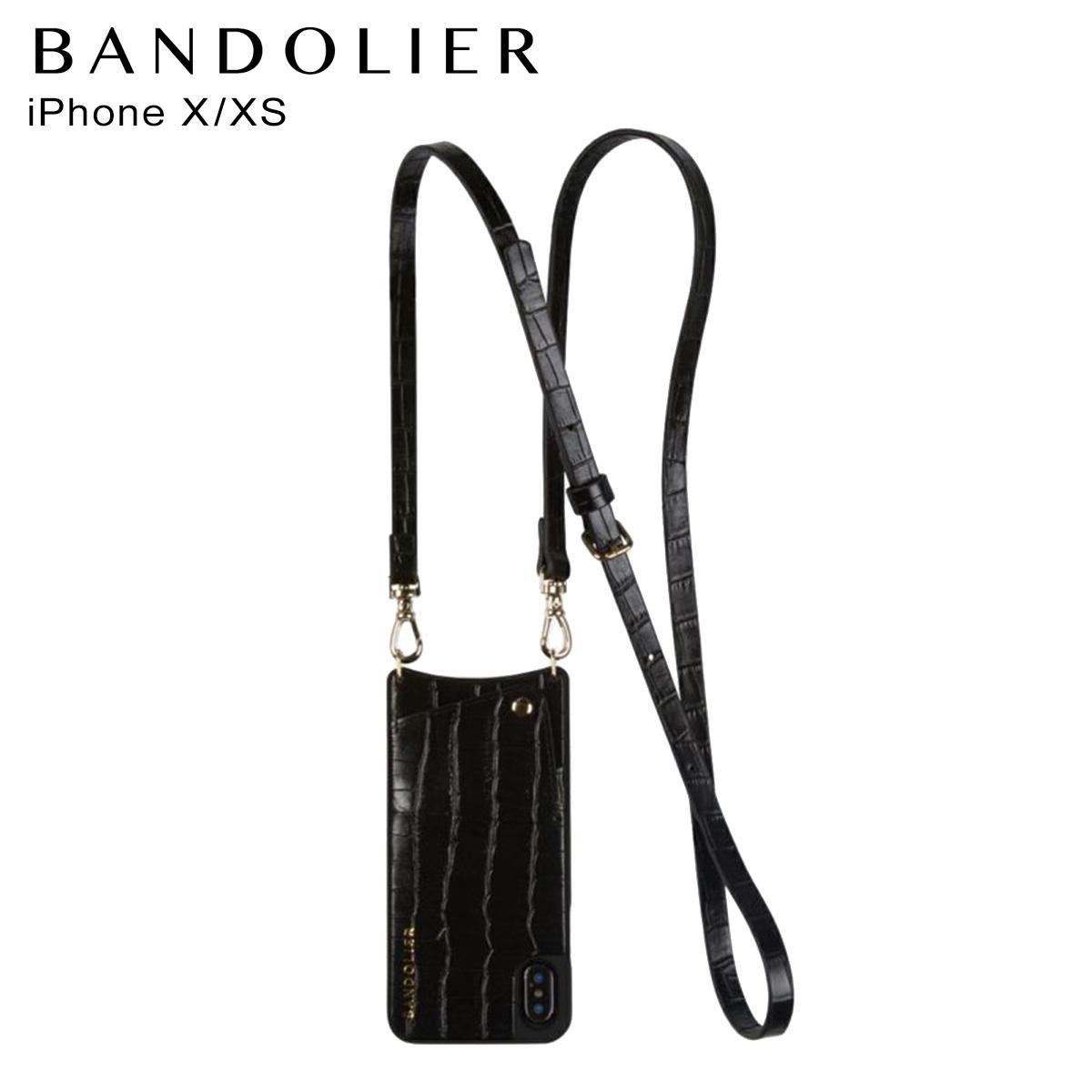 バンドリヤー BANDOLIER iPhoneXS X ケース スマホ 携帯 アイフォン レディース EMMA CROC BLACK ブラック 黒 10emm