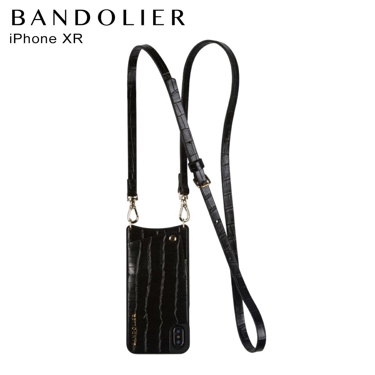 バンドリヤー BANDOLIER iPhone XR ケース スマホ 携帯 レディース EMMA CROC BLACK ブラック 黒 10emm