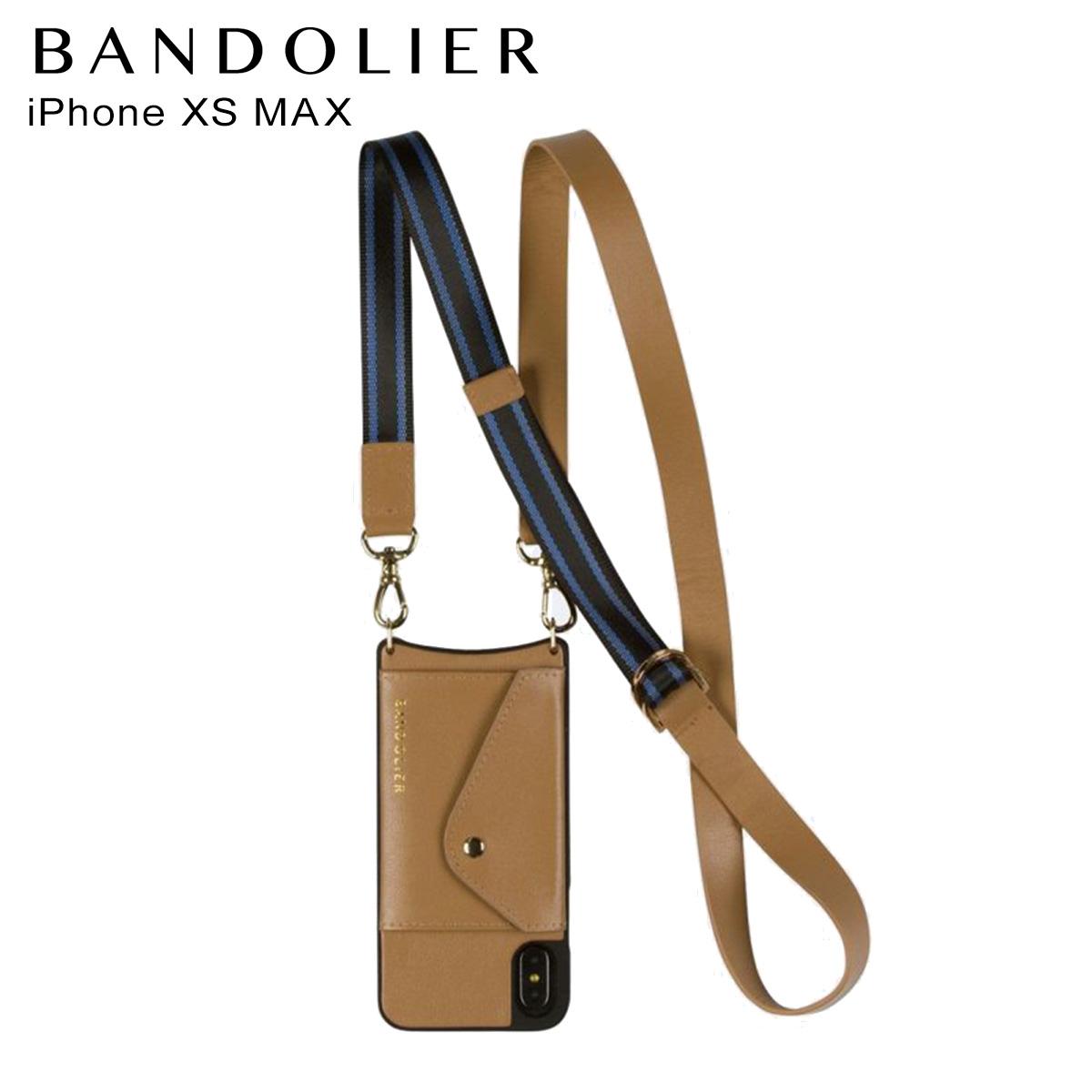 バンドリヤー BANDOLIER iPhone XS MAX ケース スマホ 携帯 レディース OLIVIA SIDE SLOT TAN BLUE キャメル 14oli