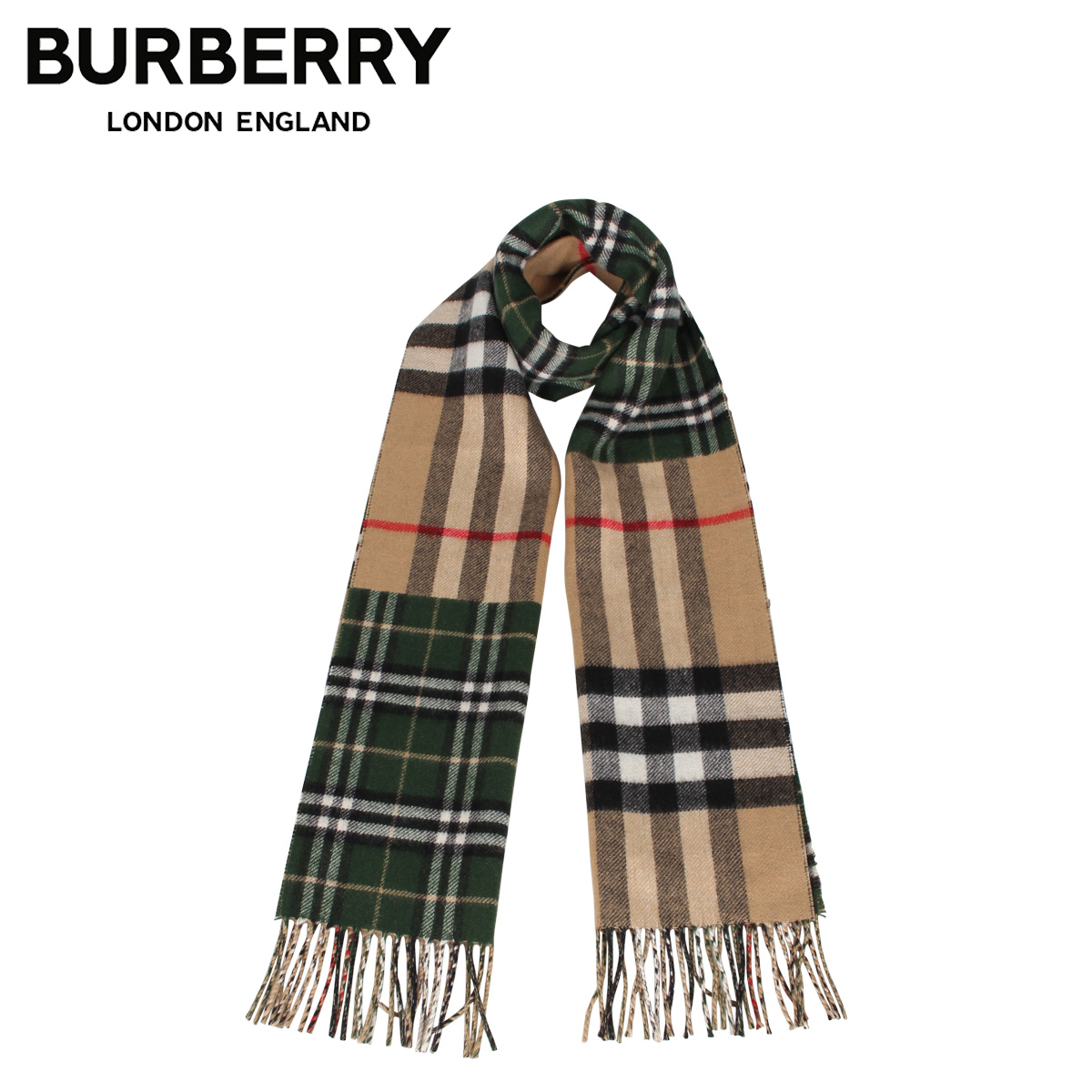 BURBERRY バーバリー マフラー スカーフ メンズ レディース チェック カシミア MUFFLER グリーン 8022477