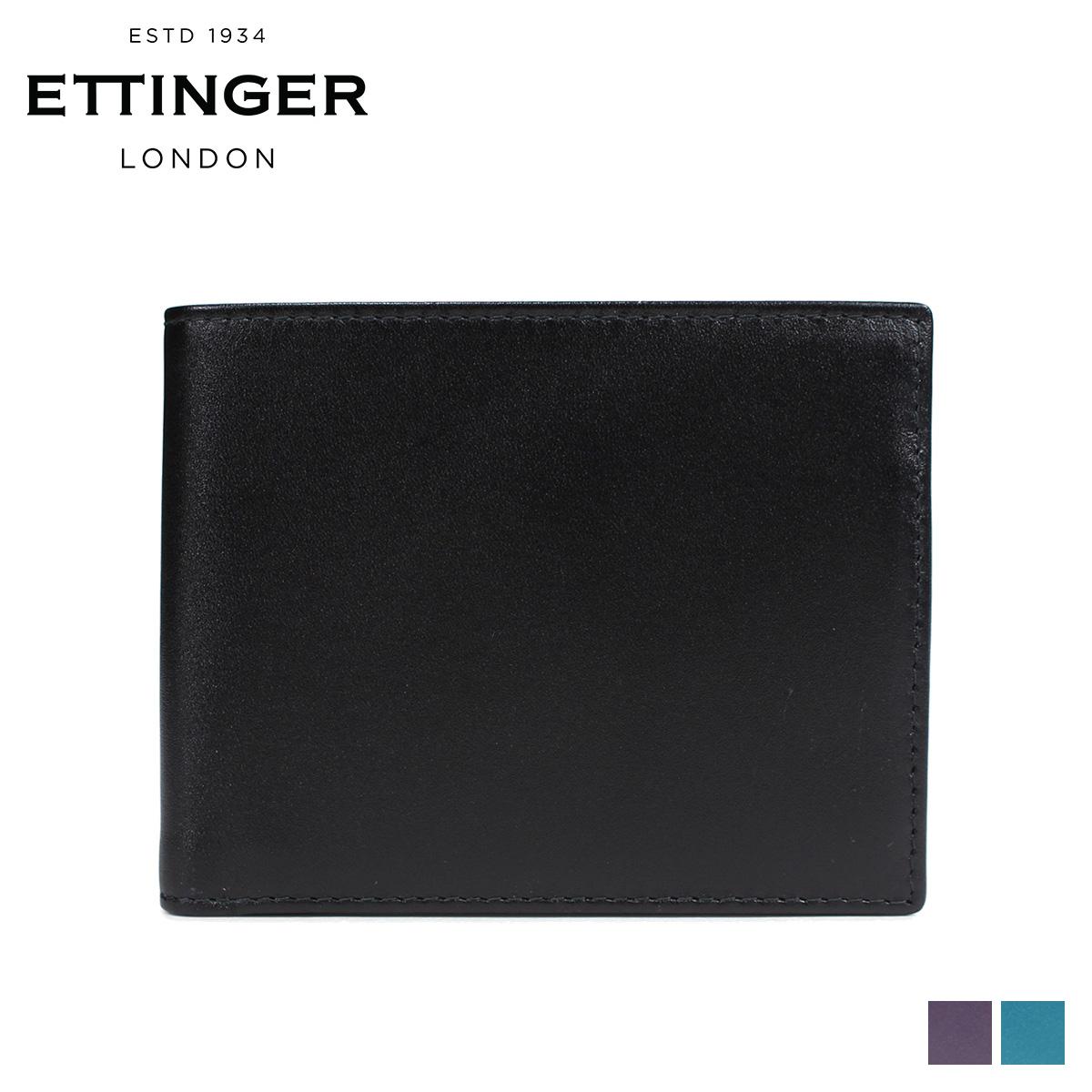 ETTINGER エッティンガー 財布 二つ折り メンズ 本革 STERLING BILLFOLD WITH 3 C/C & PURSE ブラック 黒 ST141JR