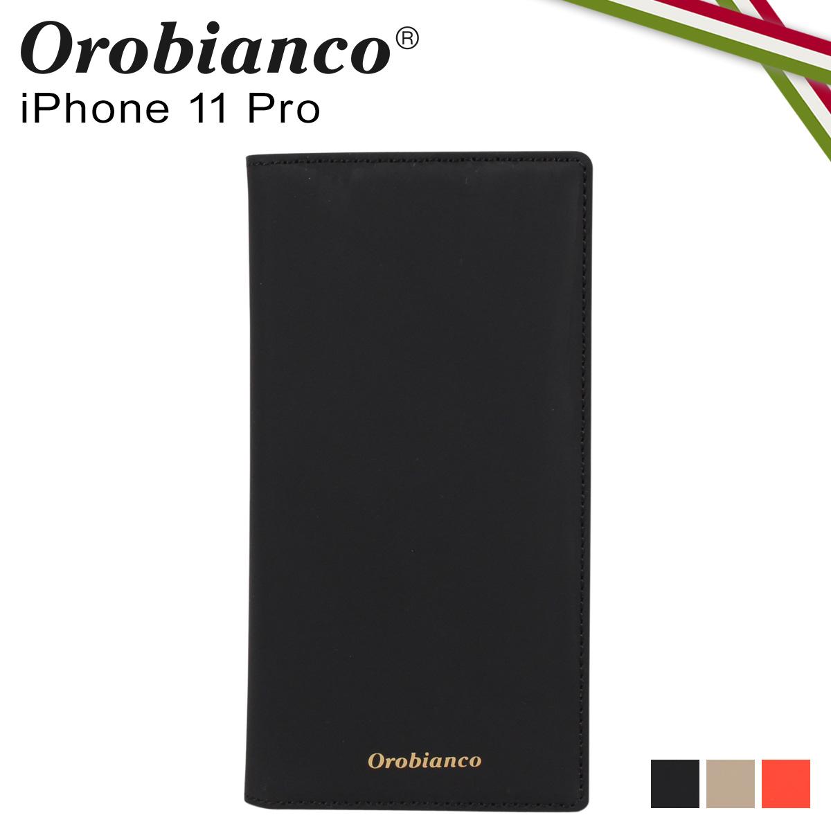 Orobianco オロビアンコ iPhone11 Pro ケース スマホ 携帯 手帳型 アイフォン メンズ レディース GOMMA BOOK TYPE SMARTPHONE CASE ブラック グレージュ オレンジ 黒 ORIP-0007-11Pro