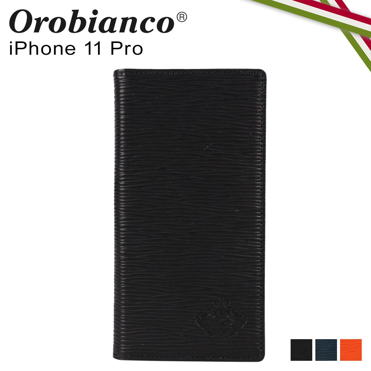Orobianco オロビアンコ iPhone11 Pro ケース スマホ 携帯 手帳型 アイフォン メンズ レディース ONDA BOOK TYPE SMARTPHONE CASE ブラック ネイビー オレンジ 黒 ORIP-0006-11Pro