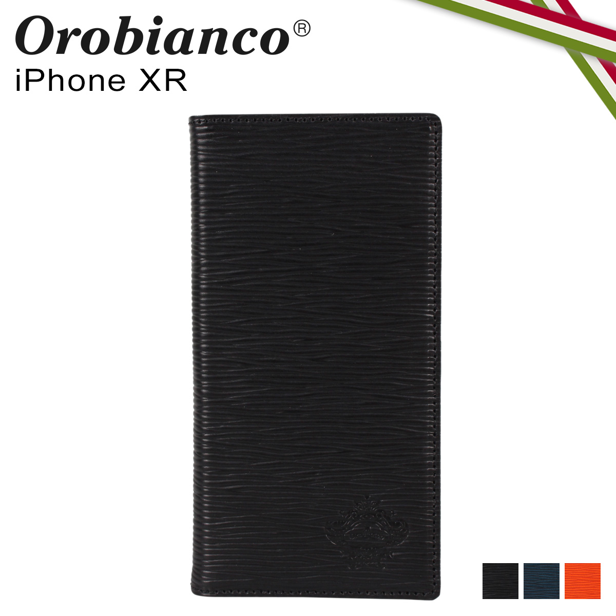 Orobianco オロビアンコ iPhoneXR ケース スマホ 携帯 手帳型 アイフォン メンズ レディース ONDA BOOK TYPE SMARTPHONE CASE ブラック ネイビー オレンジ 黒 ORIP-0006XR
