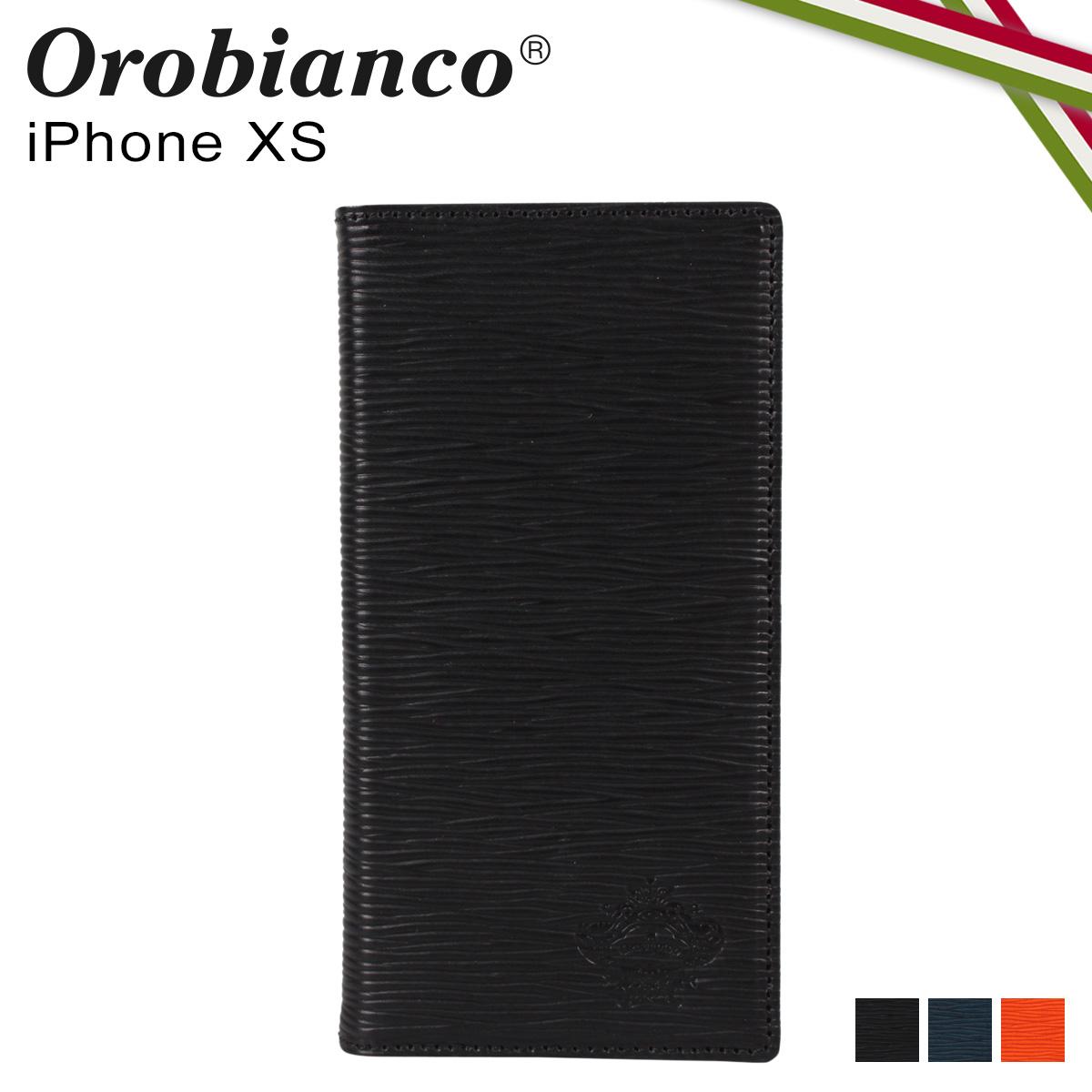 Orobianco オロビアンコ iPhoneXS ケース スマホ 携帯 手帳型 アイフォン メンズ レディース ONDA BOOK TYPE SMARTPHONE CASE ブラック ネイビー オレンジ 黒 ORIP-0006XS