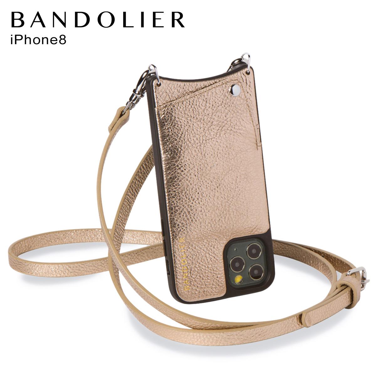 バンドリヤー BANDOLIER エマ iPhone SE 8 7 6s 6 ケース スマホ 携帯 ショルダー アイフォン メンズ レディース レザー EMMA CHAMPAGNE GOLD ゴールド 10EMM