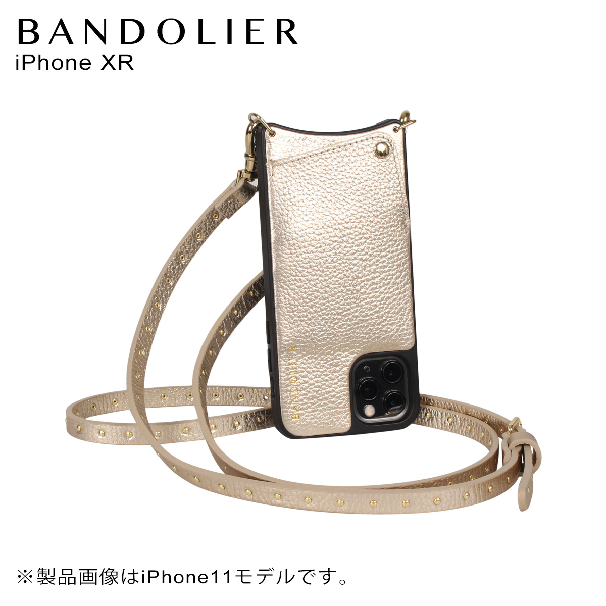 BANDOLIER バンドリヤー iPhone XR ケース スマホ 携帯 ショルダー アイフォン メンズ レディース レザー NICOLE RICH GOLD ゴールド 10NIC