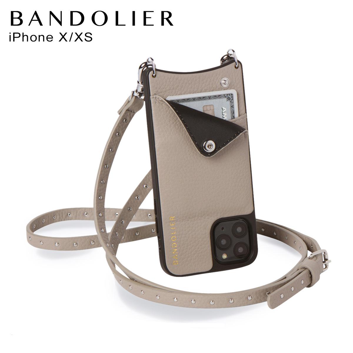 BANDOLIER バンドリヤー iPhoneXS X ケース スマホ 携帯 ショルダー アイフォン メンズ レディース レザー NICOLE GREGE グレー 10NIC [3/19 再入荷]